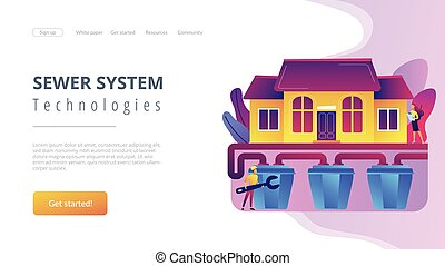 House with sewerage system and plumbing specialist with wrench. Sewerage system, domestic wastewater service, sewer system technologies concept. Website vibrant violet landing web page template.