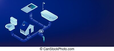 House sewage system with pipes, sink, bath and toilet. Sewerage system, domestic wastewater service, sewer system technologies concept. Isometric 3D banner header template copy space.