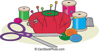 A group of sewing supplies including a pair of scissors, thread, pin cushion, some buttons, pins and a thimble