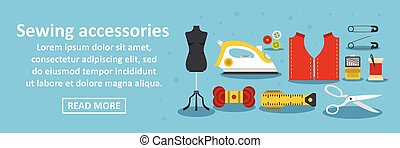 Sewing accessories banner horizontal concept