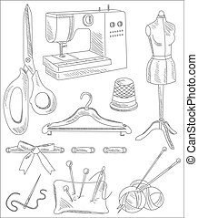 Sewing Accessories in Handdrawn Style. Vector Illustration