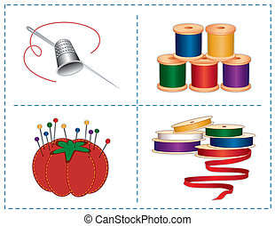 Sewing accessories: silver thimble, needle, strawberry pin cushion, straight pins, satin ribbons, spools of thread, isolated on white. For fashion sewing, tailoring, quilting, crafts, needlework, do it yourself projects. EPS8 compatible.