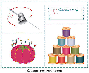 Sewing accessories: silver thimble, needle, strawberry pin cushion, straight pins, thread, sewing label with copy space. Contemporary Pantone fashion colors: phlox, quarry, orchid, coffee, honeysuckle, cedar, bamboo, emberglow, nougat, teal. For sewing, tailoring, quilting, crafts, needlework, do it...
