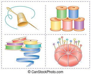 Sewing Accessories, Pastels - Sewing accessories: gold...