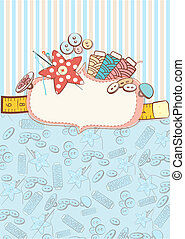 Sewing accessories - Pretty delicate pastel design of sewing...