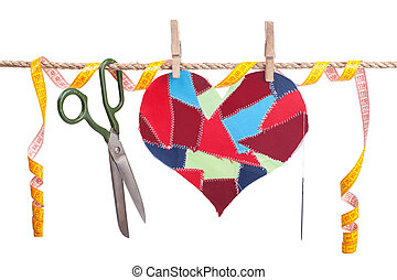 sewing accessories - fabric scraps heart and sewing...