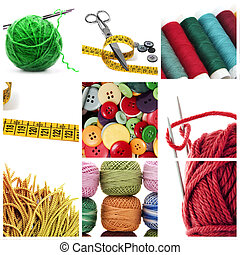 a collage of nine pictures of different sewing and knitting tools