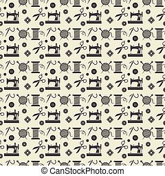 Background for sewing, needlework, pattern. Black sewing equipment and needlework. Vector illustration