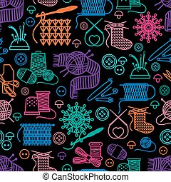 Sewing and needlework seamless pattern