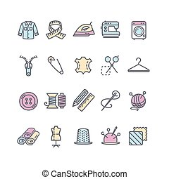 Sewing and Needlework Tool Color Thin Line Icon Set. Vector