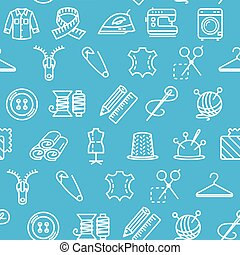 Sewing and Needlework Tool Pattern Background on a Blue. Vector