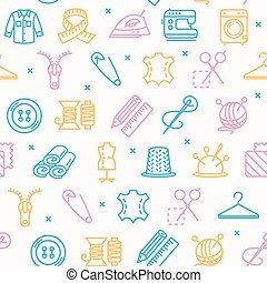 Sewing and Needlework Tool Pattern Background on a White. Vector