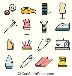 Sewing and Needlework Tool Thin Line Icon Set. Vector illustration - Vector