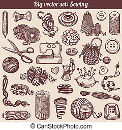 Sewing And Needlework Vector Set - Sewing And Needlework...