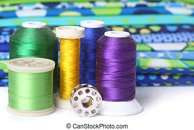 Sewing and Quilting Thread With Fabric and Copy Space