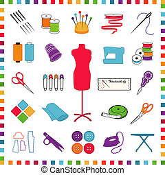 Pastel icons for sewing, tailoring, dressmaking, needlework, hobby, do it yourself crafts: needle, thread, model, ribbon, scissors, machine, pins, iron, cloth, label, thimble, button, label, buttons. EPS8 compatible.
