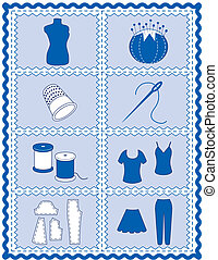 Sewing and Tailoring Icons - Tools and supplies icons for...