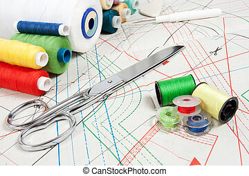 sewing background: metal scissors, multicolor threads and sewing curve