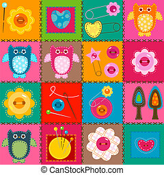 sewing background - sewing elements; colorful cute...