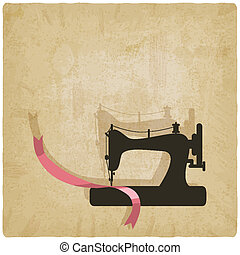 sewing background - sewing machine and pink ribbon...