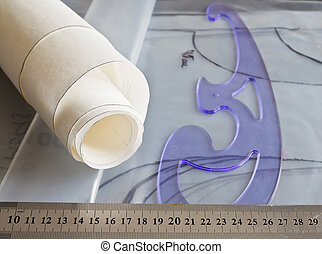 Sewing background - Sewing workplace as background. Sewing...