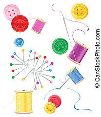 sewing background - an illustration of pins cotton reels...