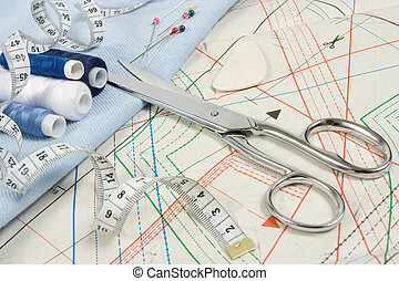 sewing background with scissors