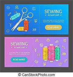 Sewing Banner Horizontal Set. Vector