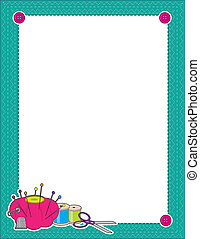 Sewing Border - A border or frame featuring sewing supplies...