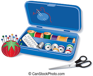 Sewing Box - Open sewing box filled with needles, threads,...