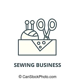 Sewing business vector line icon, linear concept, outline sign, symbol