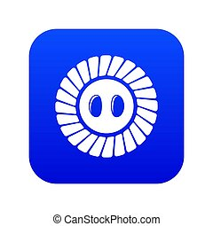 Sewing button icon blue