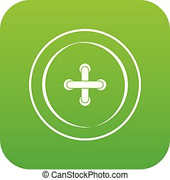 Sewing button icon digital green