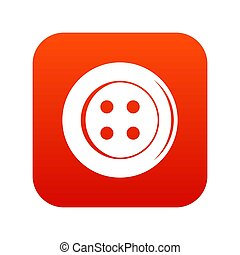 Sewing button icon digital red