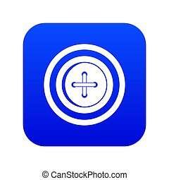 Sewing button with a thread icon digital blue