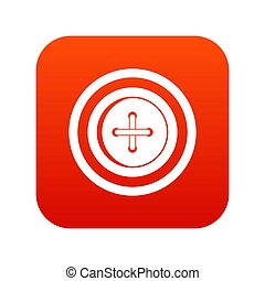Sewing button with a thread icon digital red