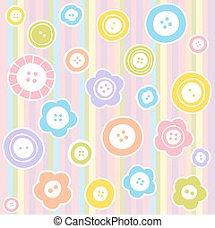 Sewing buttons on fabric background