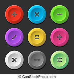 Sewing Buttons Set on Dark Background. Vector