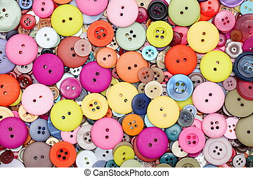 Sewing buttons, colorful background