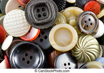 Sewing buttons - Assorted vintage sewing buttons background