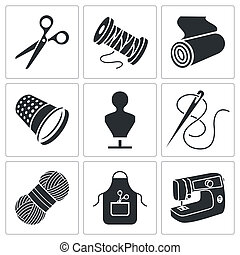 Sewing clothing manufacture Icons set - Sewing icon...