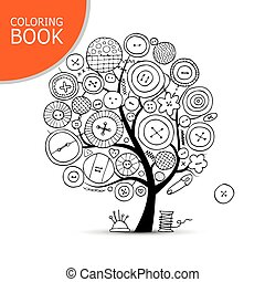 Sewing crafts, art tree. Page for your coloring book