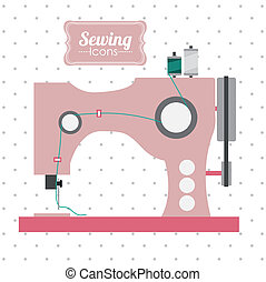 Sewing design over white background, vector illustration