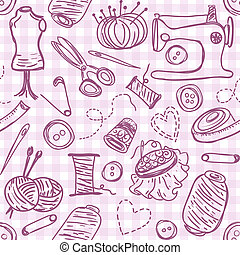 Sewing doodles - Illustration of sewing doodles on seamless...