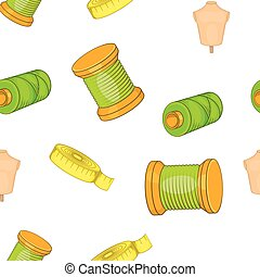 Sewing elements pattern, cartoon style