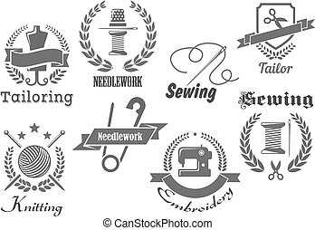 Sewing, embroidery and tailoring vector icons set