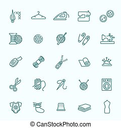 Sewing equipment and needlework icons set