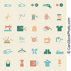 Sewing equipment and needlework icons - Sewing equipment and...