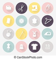 Sewing equipment and needlework. Multicolored icons for...