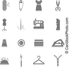 Sewing equipment icons set black